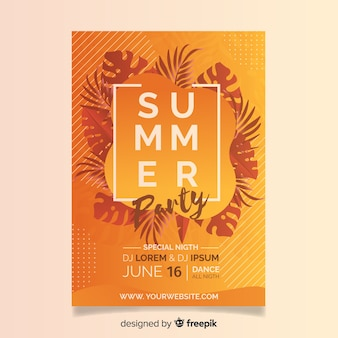 Plantilla de folleto realista de fiesta de verano