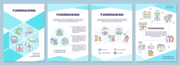Plantilla de folleto de recaudación de fondos. empresa de recaudación de dinero.