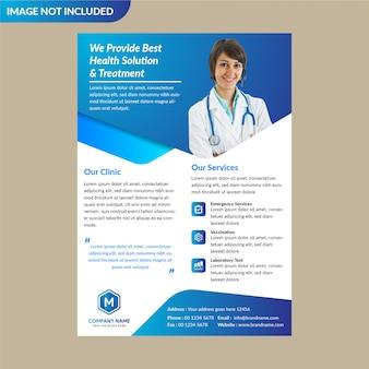 Plantilla de folleto de salud azul