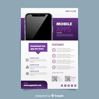 Plantilla de folleto sobre aplicaciones móviles