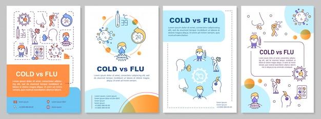 Plantilla de folleto sobre resfriado vs gripe