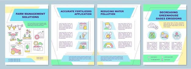 Plantilla de folleto de soluciones de gestión agrícola. reducir la contaminación del agua.