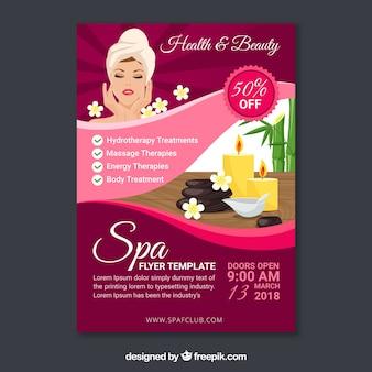 Plantilla del folleto de de spa en diseño plano