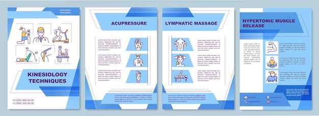 Plantilla de folleto de técnicas de kinesiología. masaje linfático.