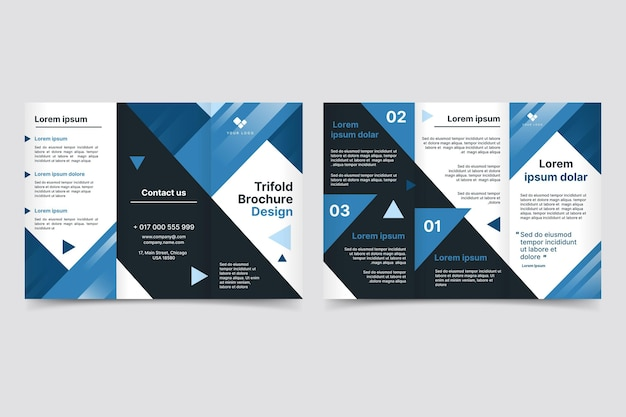 Plantilla de folleto tríptico abstracto con formas
