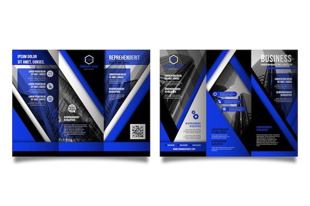 Plantilla de folleto tríptico abstracto con foto