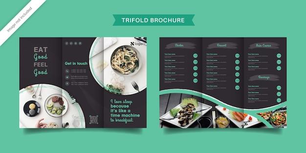 Plantilla de folleto tríptico de alimentos
