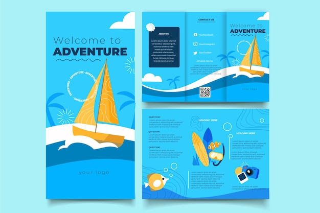 Plantilla de folleto tríptico de aventura plana