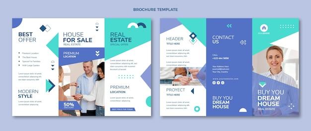 Plantilla de folleto tríptico de bienes raíces geométricas abstractas planas