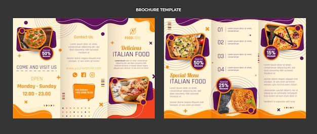Plantilla de folleto tríptico de comida italiana plana