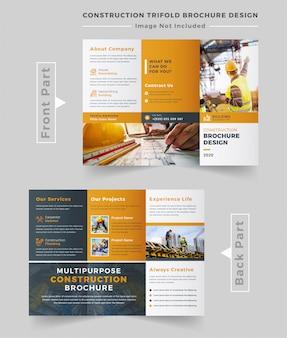 Plantilla de folleto tríptico de construcción