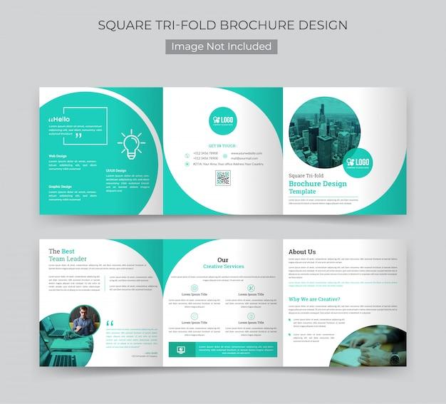 Plantilla de folleto tríptico cuadrado corporativo