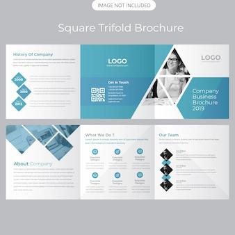 Plantilla de folleto tríptico cuadrado