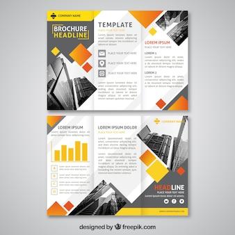 Plantilla de folleto tríptico con diseño abstracto