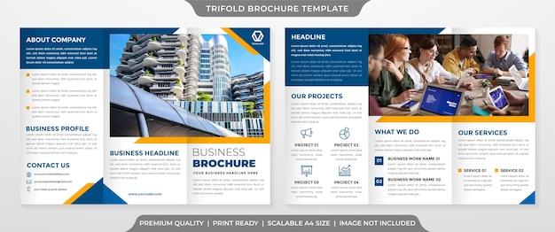 Plantilla de folleto tríptico con estilo minimalista