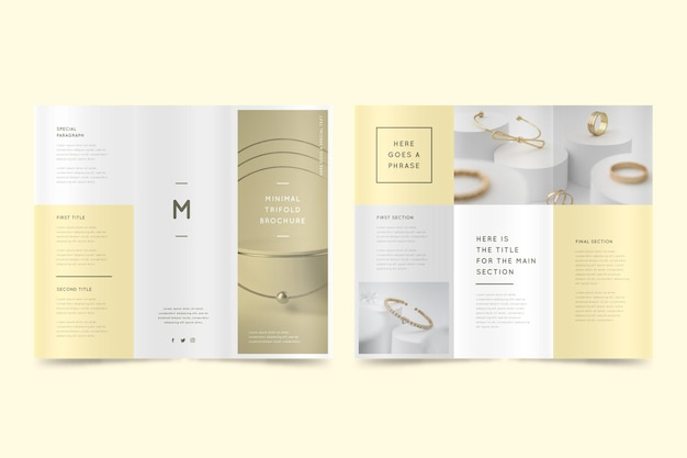 Plantilla de folleto tríptico mínimo con foto