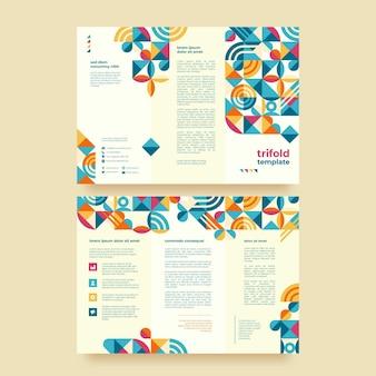 Plantilla de folleto tríptico de mosaico plano