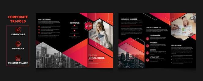 Plantilla de folleto tríptico de servicios empresariales