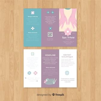 Plantilla de folleto tríptico de spa