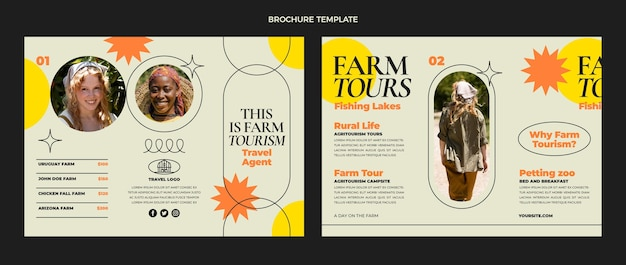 Plantilla de folleto tríptico de viaje plano