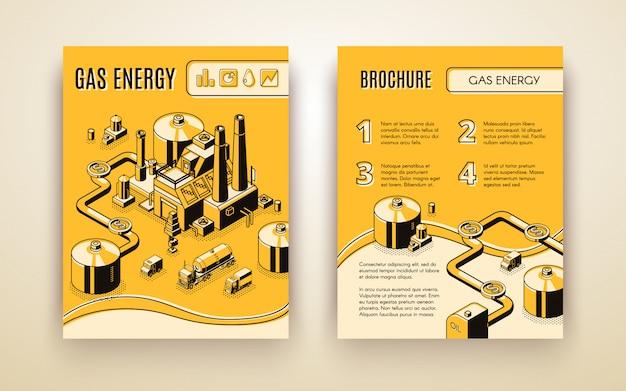 Plantilla de folleto de vector con planta de energía de gas isométrica 3d