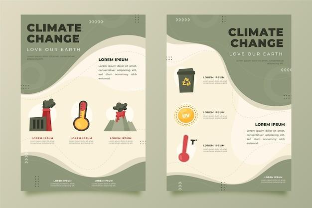 Plantilla de folletos verticales de cambio climático plano dibujado a mano
