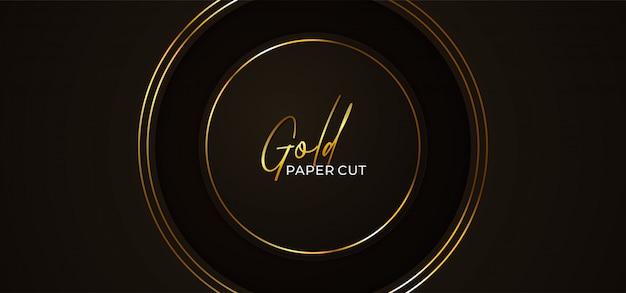 Plantilla de fondo abstracto de corte simple de papel de círculo simple con marco dorado brillante