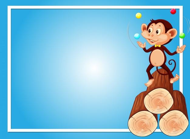 Plantilla de fondo azul con bolas de malabarismo de mono