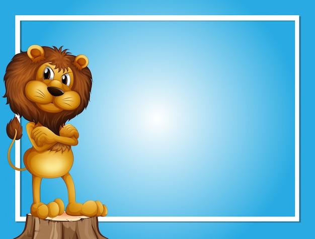 Plantilla de fondo azul con león en registro
