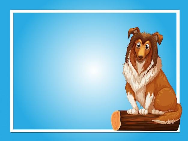 Plantilla de fondo azul con lindo perro en registro
