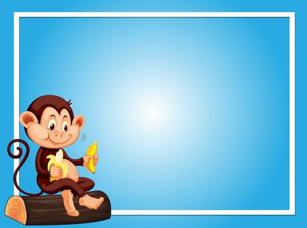Plantilla de fondo azul con mono comiendo plátano