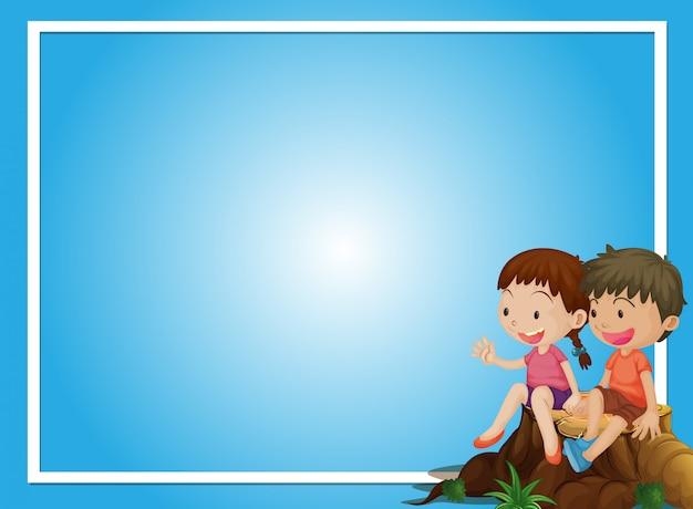 Plantilla de fondo azul con niño y niña en registro