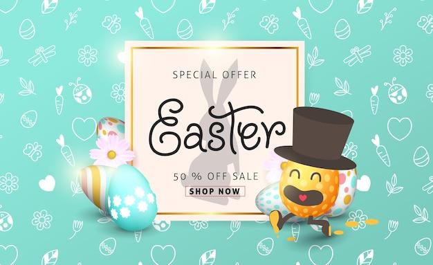 Plantilla de fondo de banner de venta de pascua con hermosas flores de primavera coloridas y huevos de pascua de dibujos animados en ejecución.