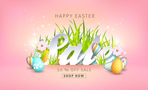 Plantilla de fondo de banner de venta de pascua con huevos y flores de primavera colorida hermosa.