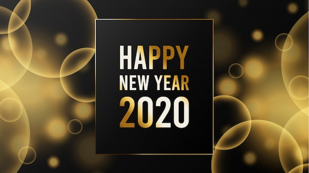 Plantilla de fondo borroso año nuevo 2020