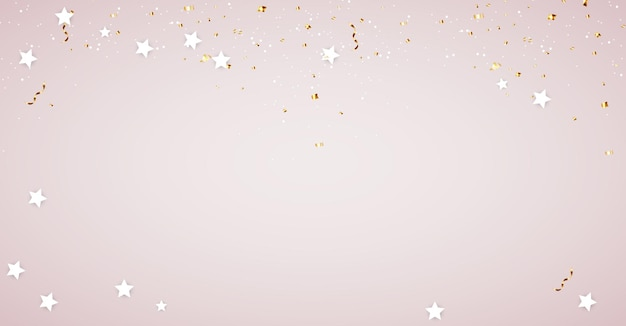 Plantilla de fondo brillante con confeti y estrellas