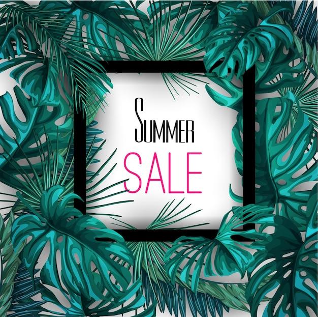 Plantilla de fondo de cartel de banner de venta de verano de hojas tropicales.