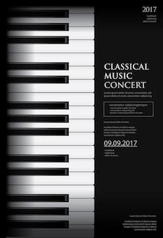 Plantilla de fondo de cartel de piano de cola de música