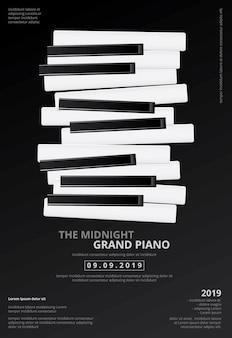 Plantilla del fondo del cartel del piano de cola de la música