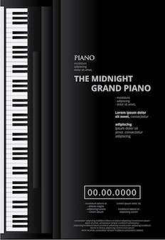 Plantilla de fondo de cartel de piano de cola musical