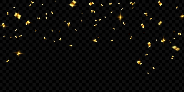 Plantilla de fondo de celebración con cintas de oro confeti. tarjeta rica de saludo de lujo.