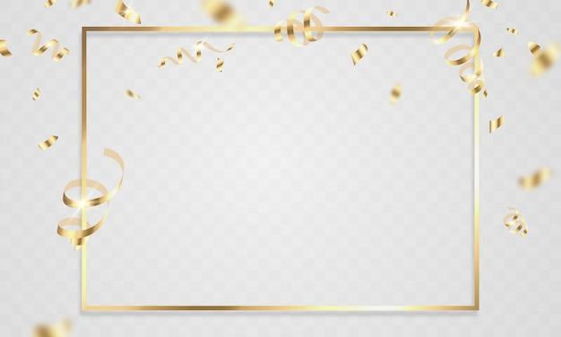 Plantilla de fondo de celebración con cintas de oro confeti