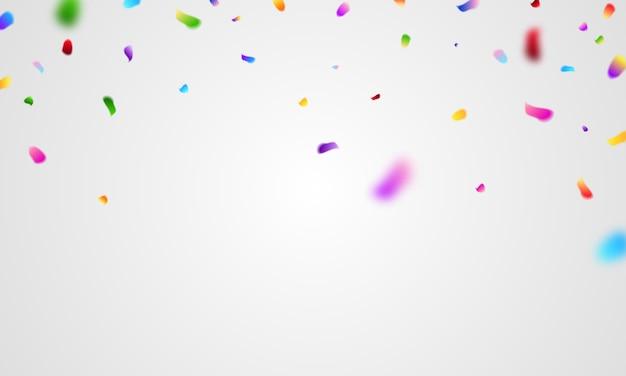 Plantilla de fondo de celebración con confeti y cintas de colores.