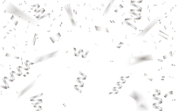 Plantilla de fondo de celebración con confeti plateado.