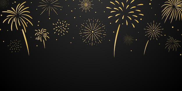 Plantilla de fondo de celebración con fuegos artificiales de oro. tarjeta de felicitación de lujo.