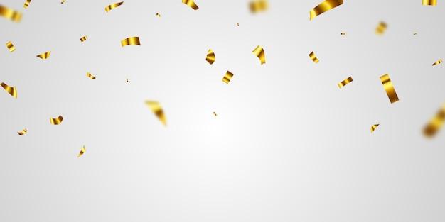 Plantilla de fondo de celebración de oro confeti con cintas. tarjeta rica de saludo de lujo.