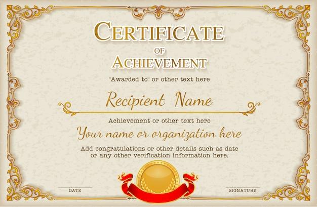 Plantilla de fondo de certificado de marco vintage