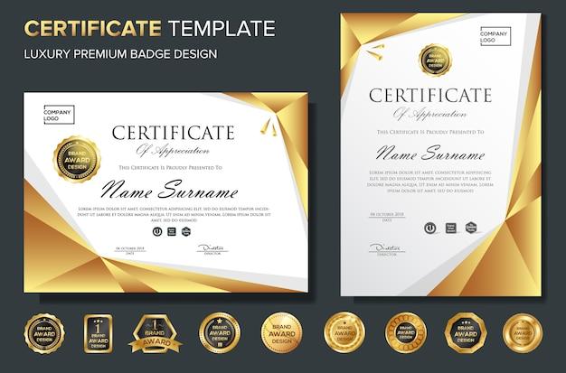 Plantilla de fondo de certificado de reconocimiento con insignia