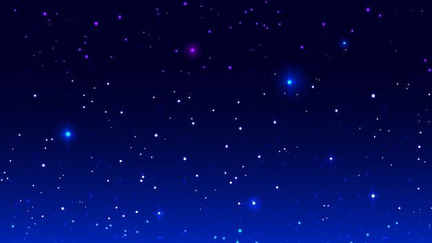 Plantilla de fondo de cielo estrellado de noche azul.