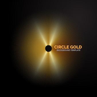 Plantilla de fondo de círculo de línea dorada